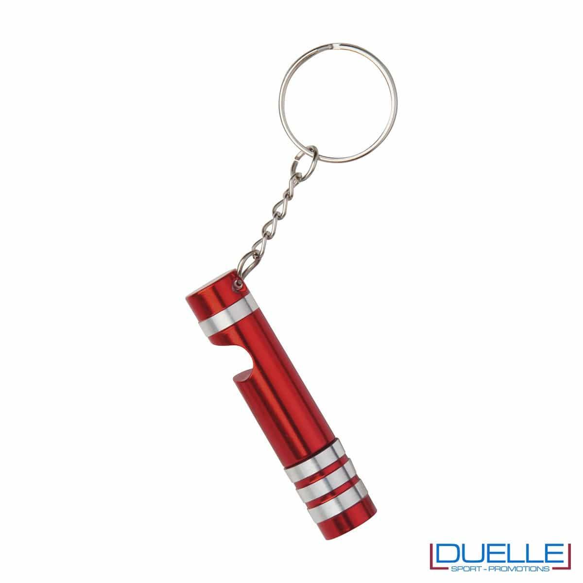 Portachiavi con mini torcia colore rosso personalizzato