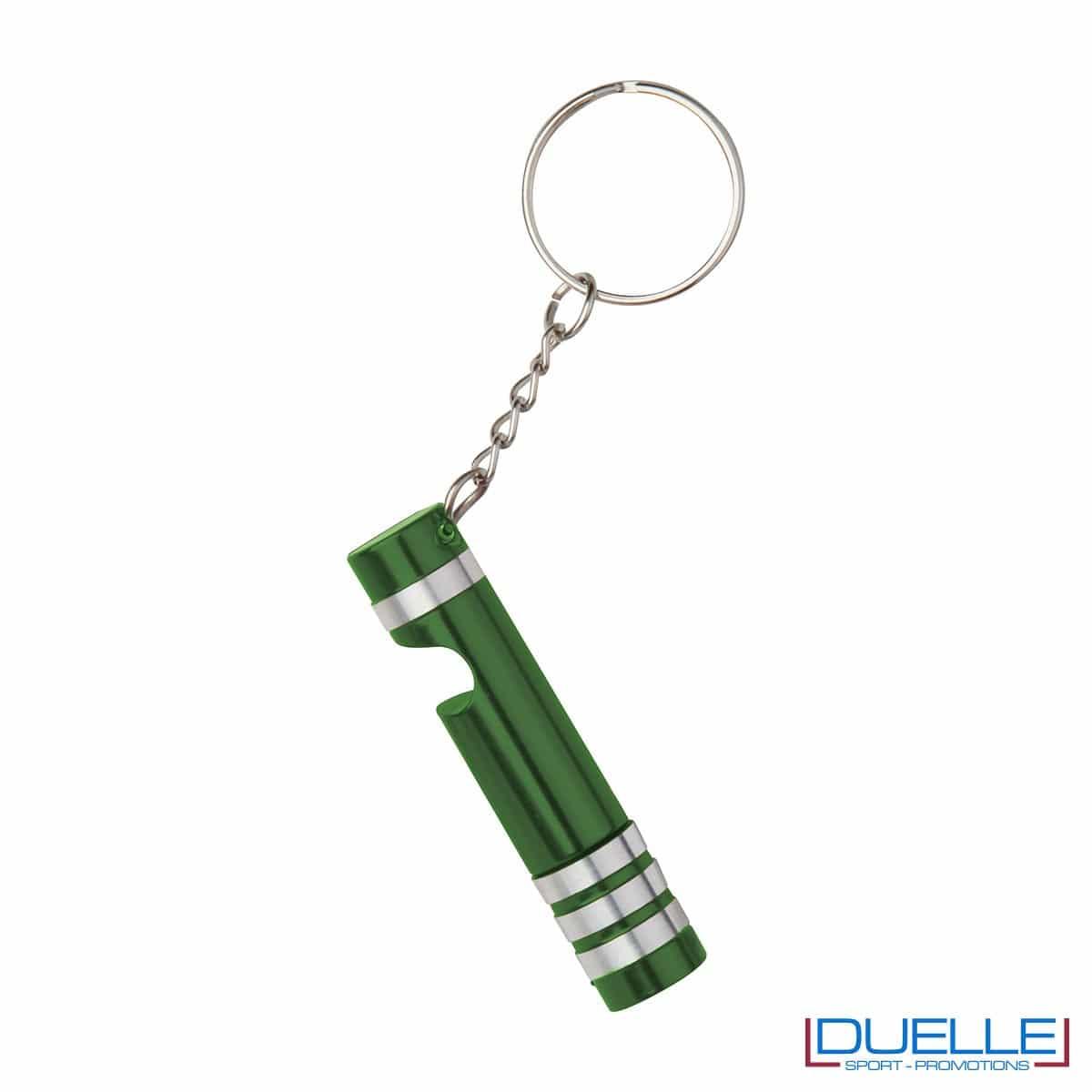 Portachiavi con mini torcia colore verde personalizzato