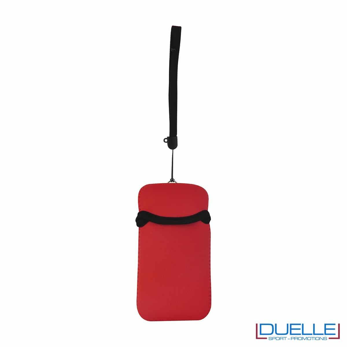 Portacellulare personalizzato in neoprene colore ROSSO da appendere al collo. gadget estivi personalizzati, gadget personalizzati