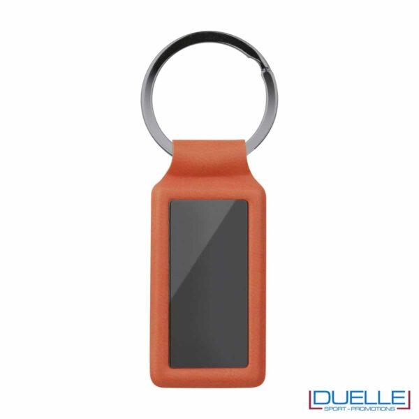 portachiavi personalizzati rettangolare in metallo gun metal con profilo arancione