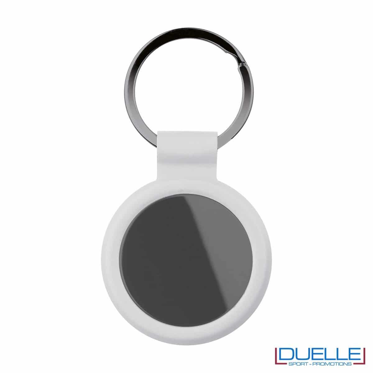 portachiavi personalizzato circolare in metallo gun metal con profilo bianco