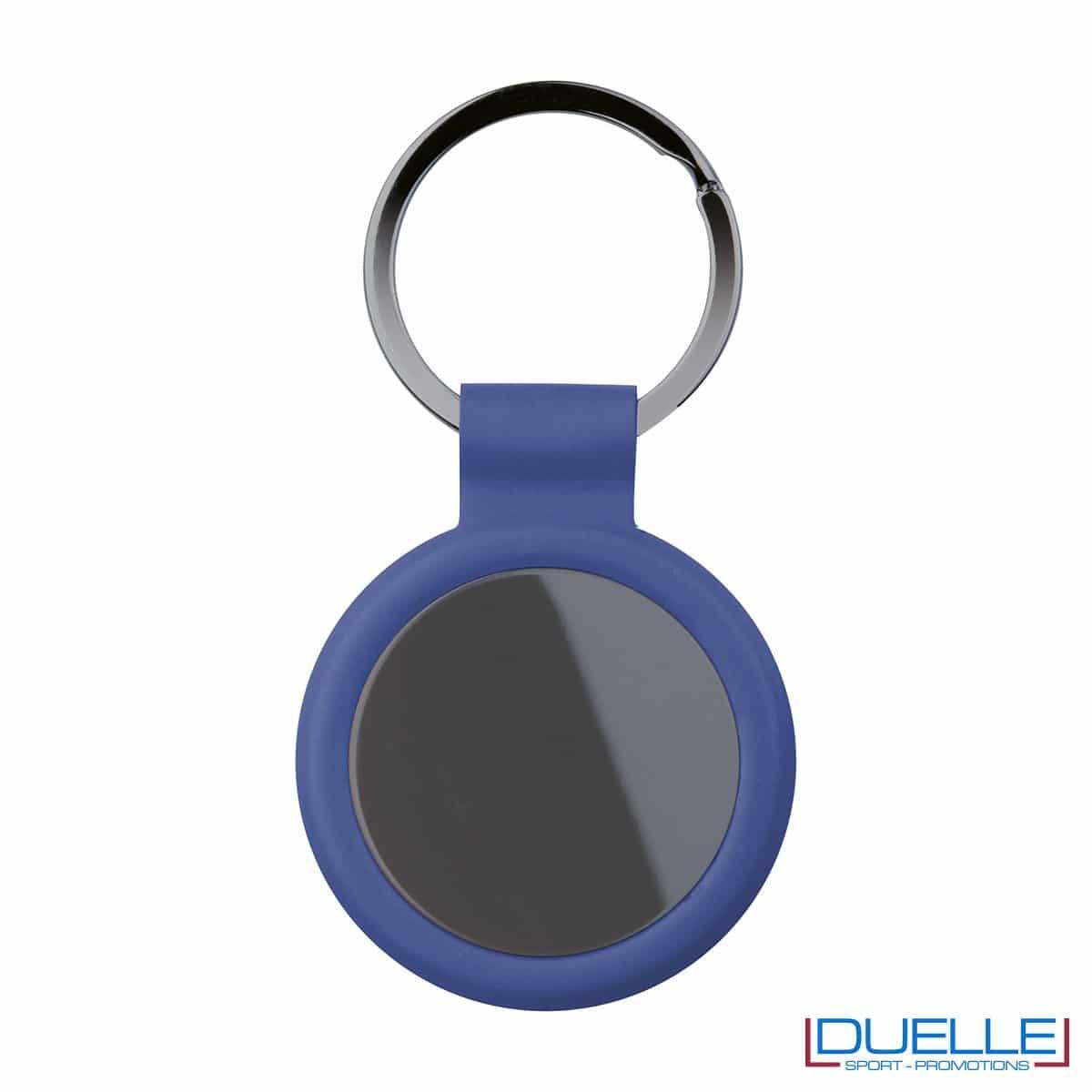 portachiavi personalizzato circolare in metallo gun metal con profilo blu
