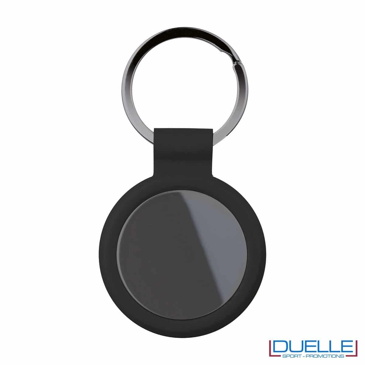 portachiavi personalizzato circolare in metallo gun metal con profilo nero