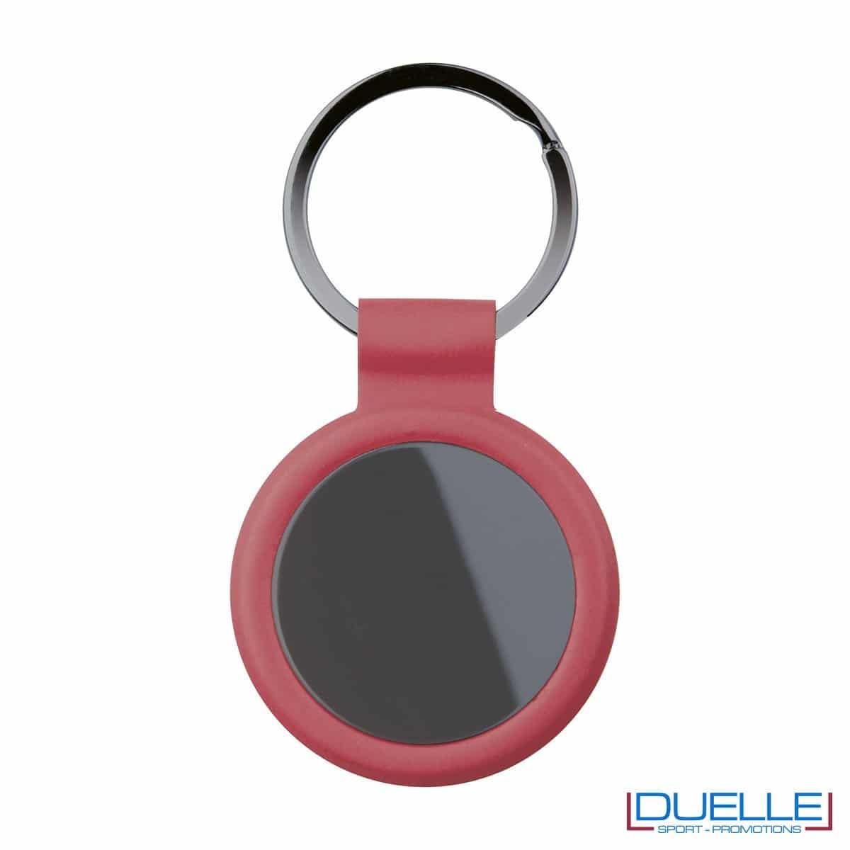 portachiavi personalizzato circolare in metallo gun metal con profilo rosso