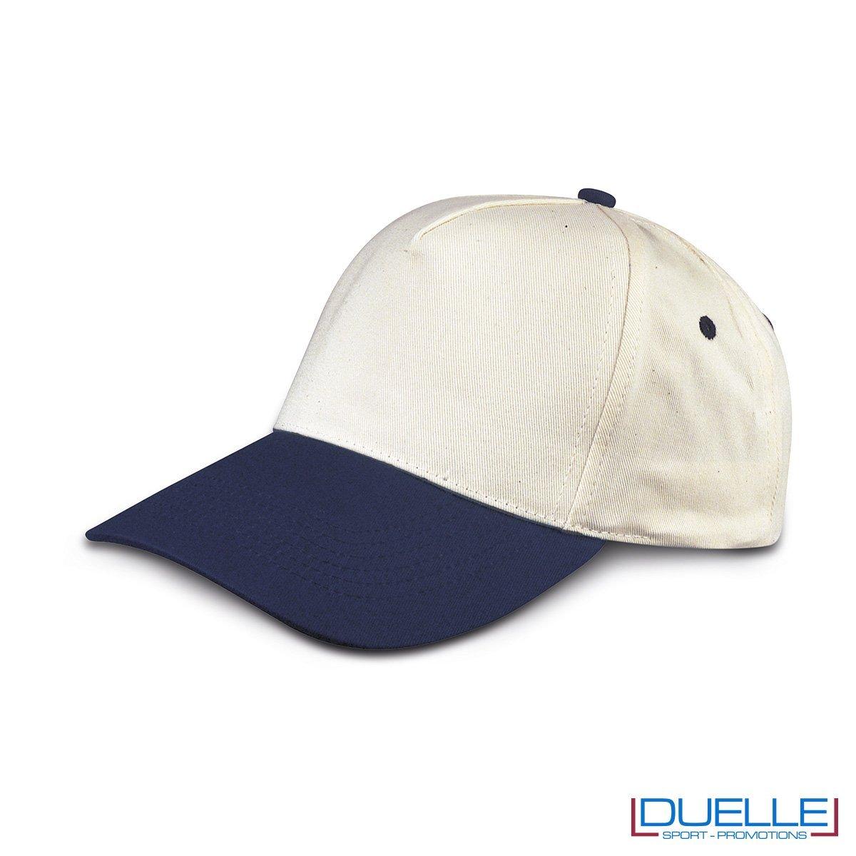 cappellino personalizzato golf a 5 pannelli colore cotone naturale e blu