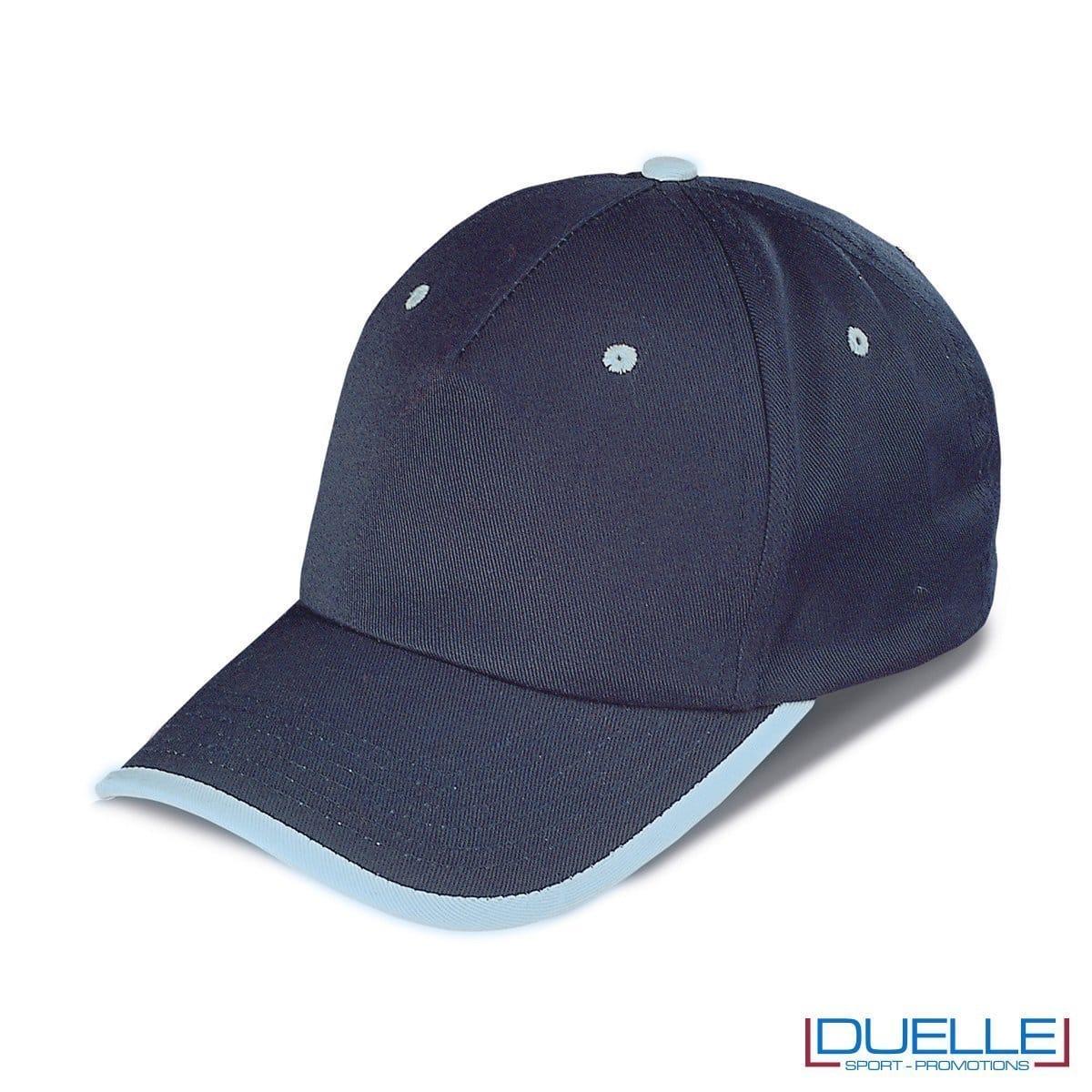 cappellino personalizzato a 5 pannelli con orlo a contrasto, colore blu navy