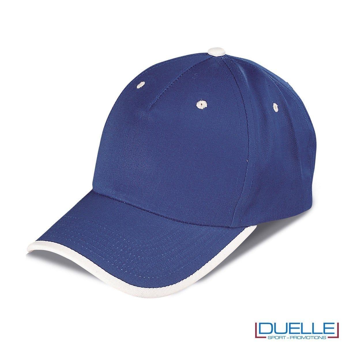 cappellino personalizzato a 5 pannelli con orlo a contrasto, colore blu royal