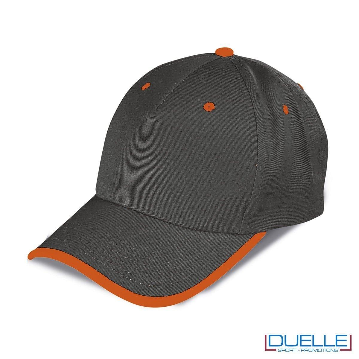 cappellino personalizzato a 5 pannelli con orlo a contrasto, colore grigio