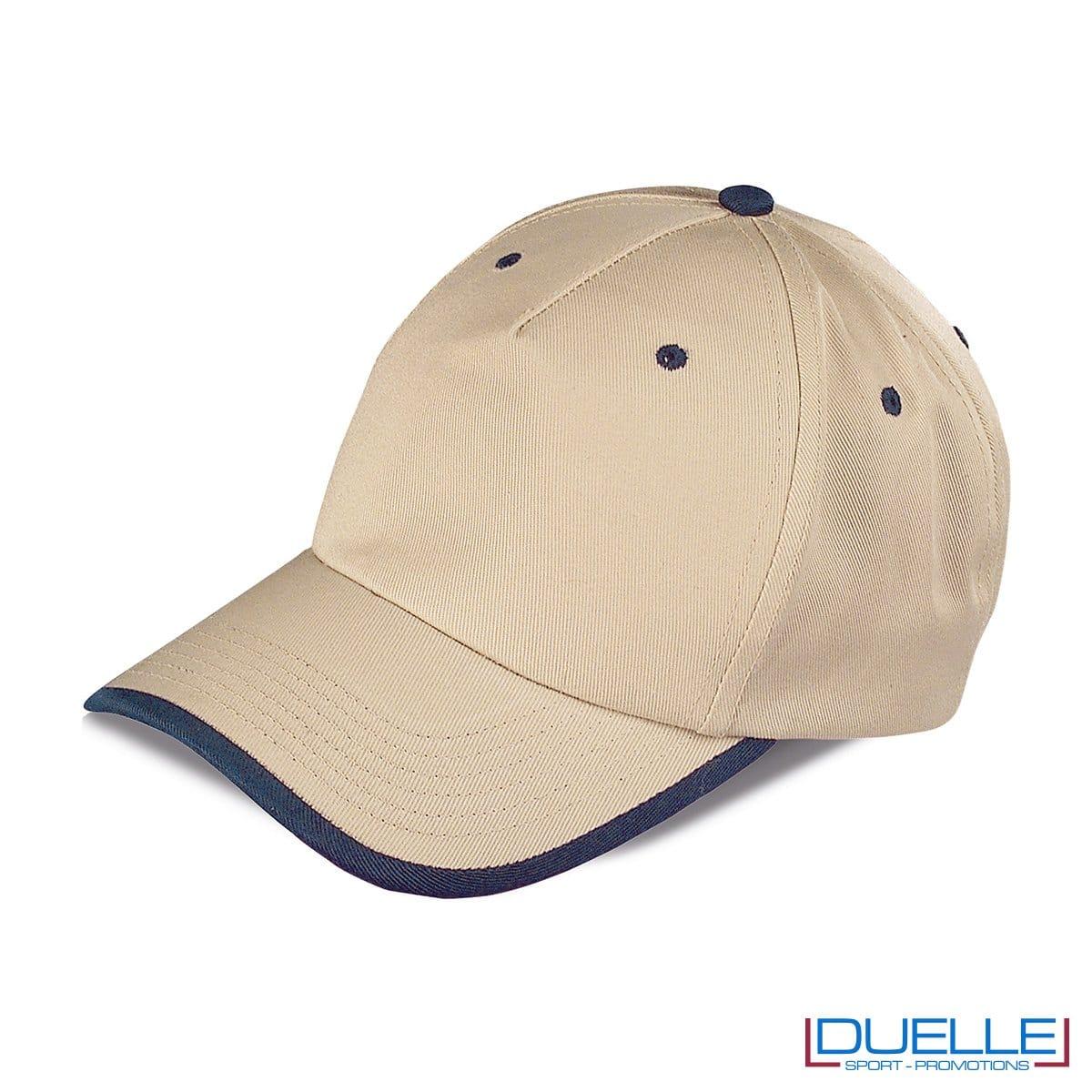 cappellino personalizzato a 5 pannelli con orlo a contrasto, colore kaki