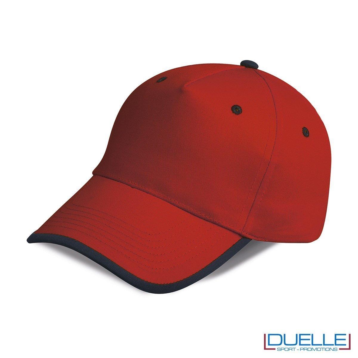 cappellino personalizzato a 5 pannelli con orlo a contrasto, colore rosso