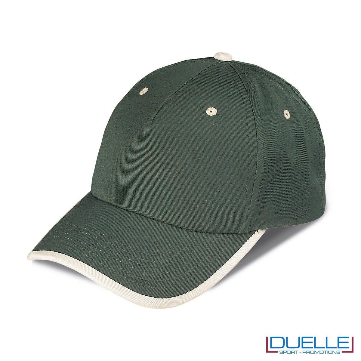 cappellino personalizzato a 5 pannelli con orlo a contrasto, colore verde