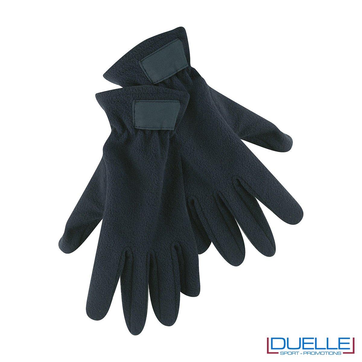 guanti in pile personalizzati in colore blu navy, guanti invernali personalizzati