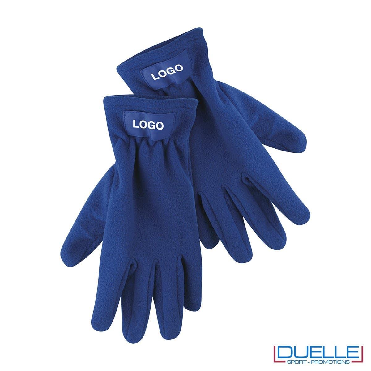 guanti in pile personalizzati in colore blu royal, guanti invernali personalizzati