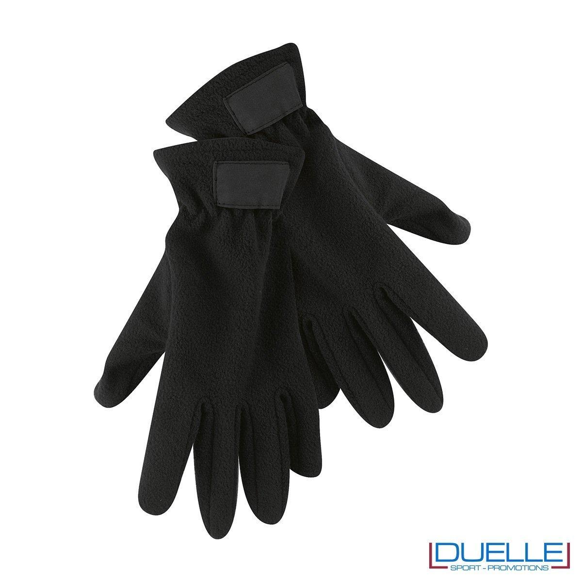 guanti in pile personalizzati in colore nero, guanti invernali personalizzati