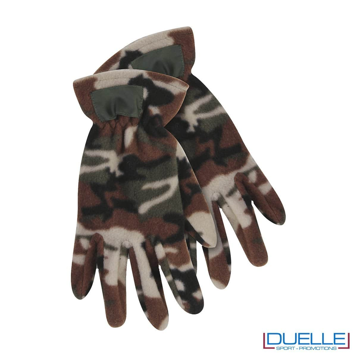 guanti in pile personalizzati in colore camouflage, guanti invernali personalizzati