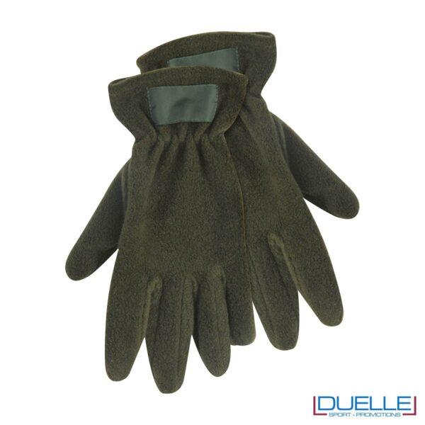 guanti in pile personalizzati in colore verde militare, guanti invernali personalizzati