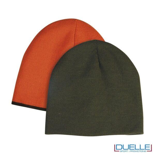 berretto personalizzato invernale verde militare, berretto invernale personalizzato double face
