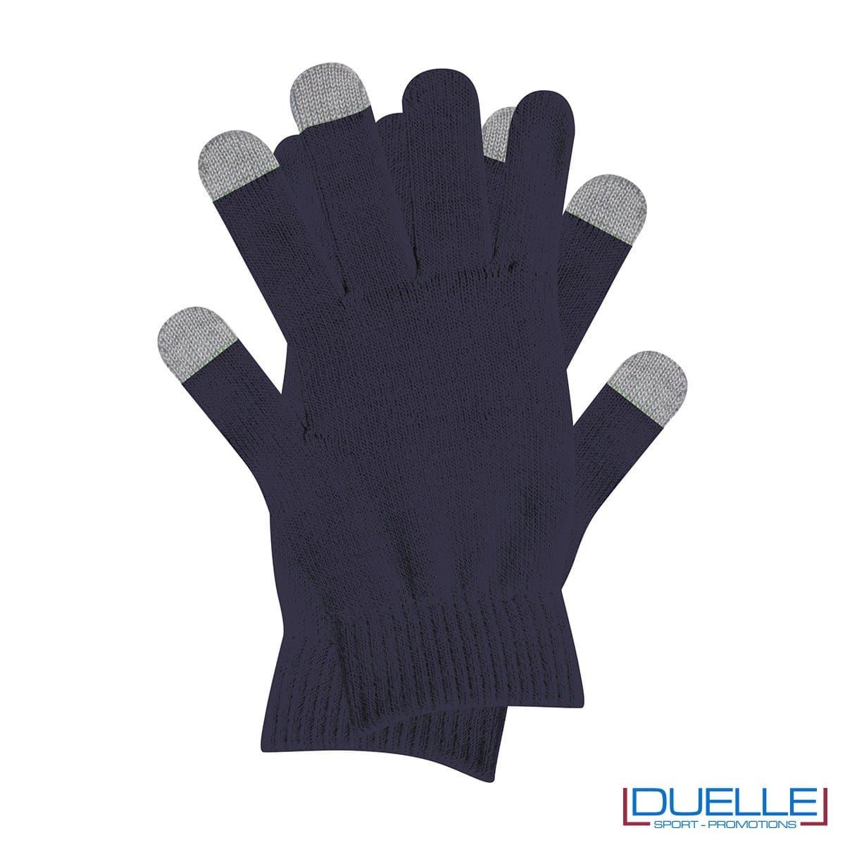 guanti touch screen personalizzati in colore blu navy