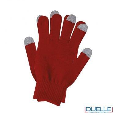 guanti touch screen personalizzati in colore rosso