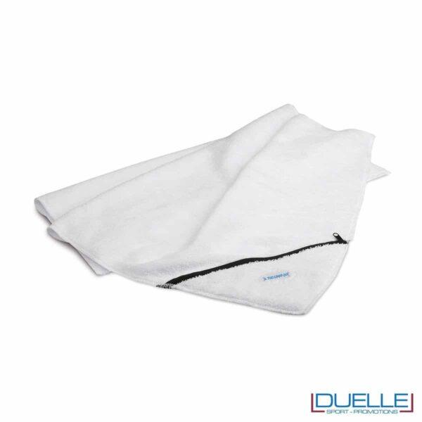 asciugamano personalizzato da palestra e centro fitness con tasca richiudibile da personalizzare con stampa a colori o ricamo, gadget sportivi personalizzati