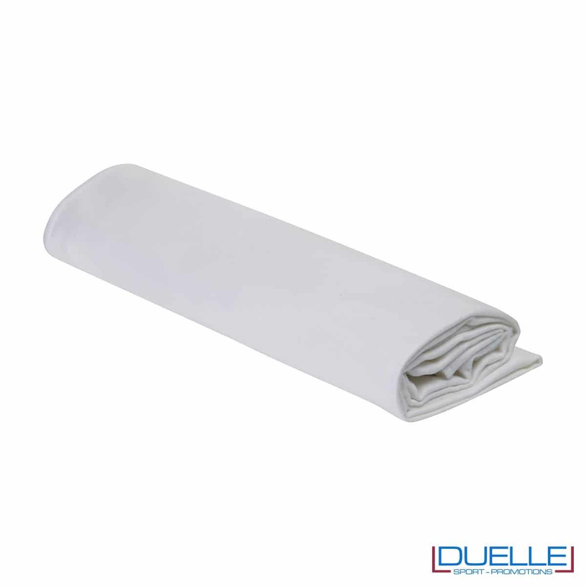 asciugamano personalizzato in microfibra colore BIANCO da palestra e centro fitness da personalizzare con stampa a colori o ricamo, gadget sportivi personalizzati