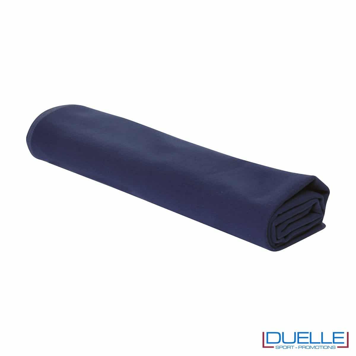 asciugamano personalizzato in microfibra colore BLU NAVY da palestra e centro fitness da personalizzare con stampa a colori o ricamo, gadget sportivi personalizzati