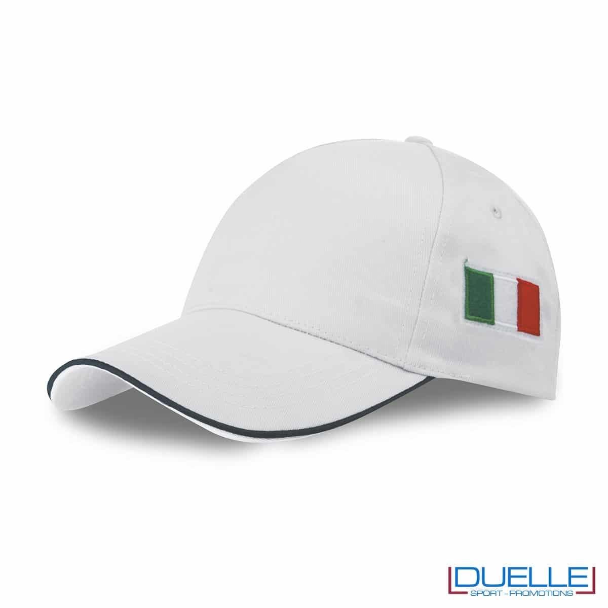 cappellino personalizzato 5 pannelli con bandiera tricolore colore bianco