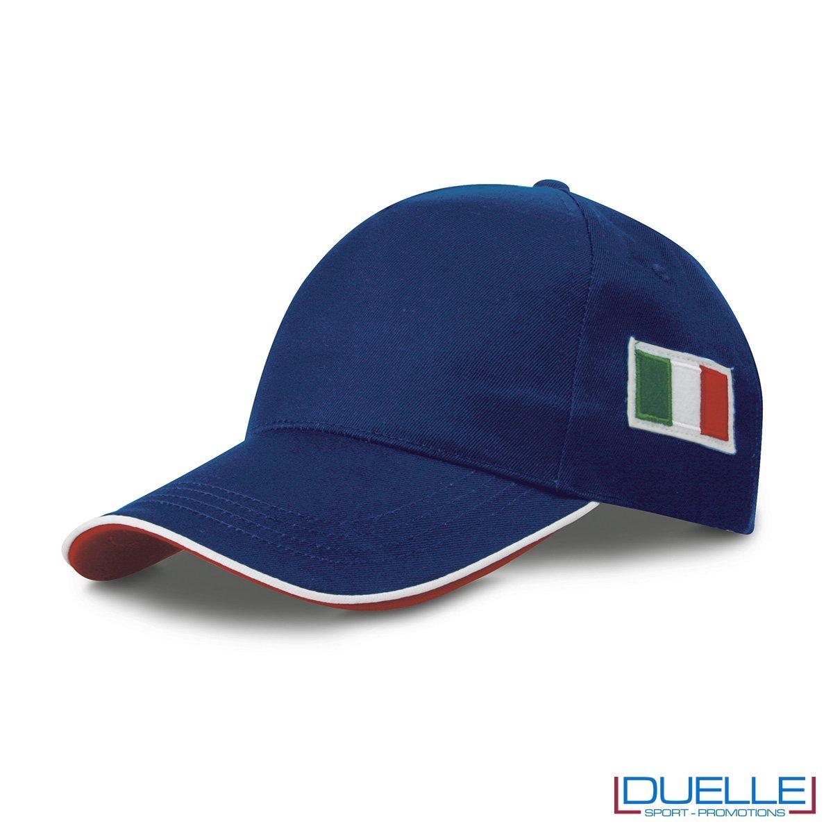 cappellino personalizzato 5 pannelli con bandiera tricolore colore blu royal