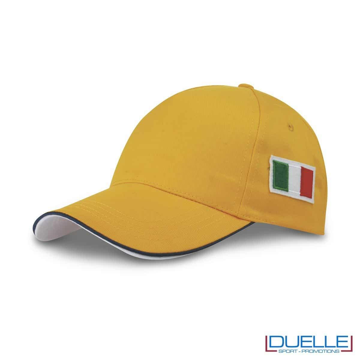cappellino personalizzato 5 pannelli con bandiera tricolore colore giallo