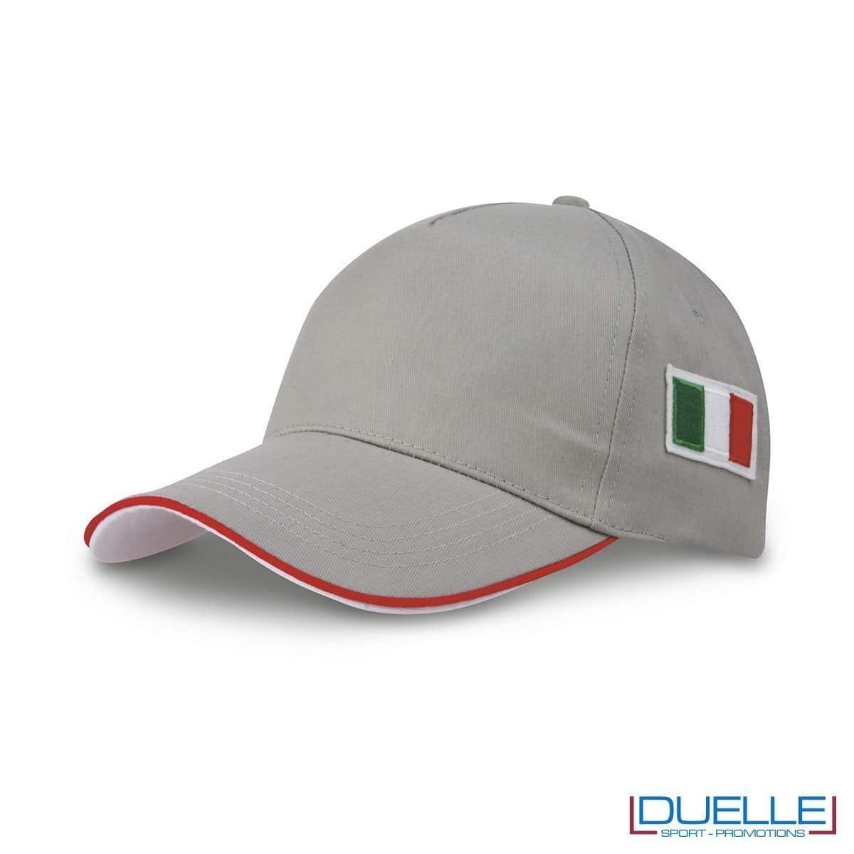 cappellino personalizzato 5 pannelli con bandiera tricolore colore grigio