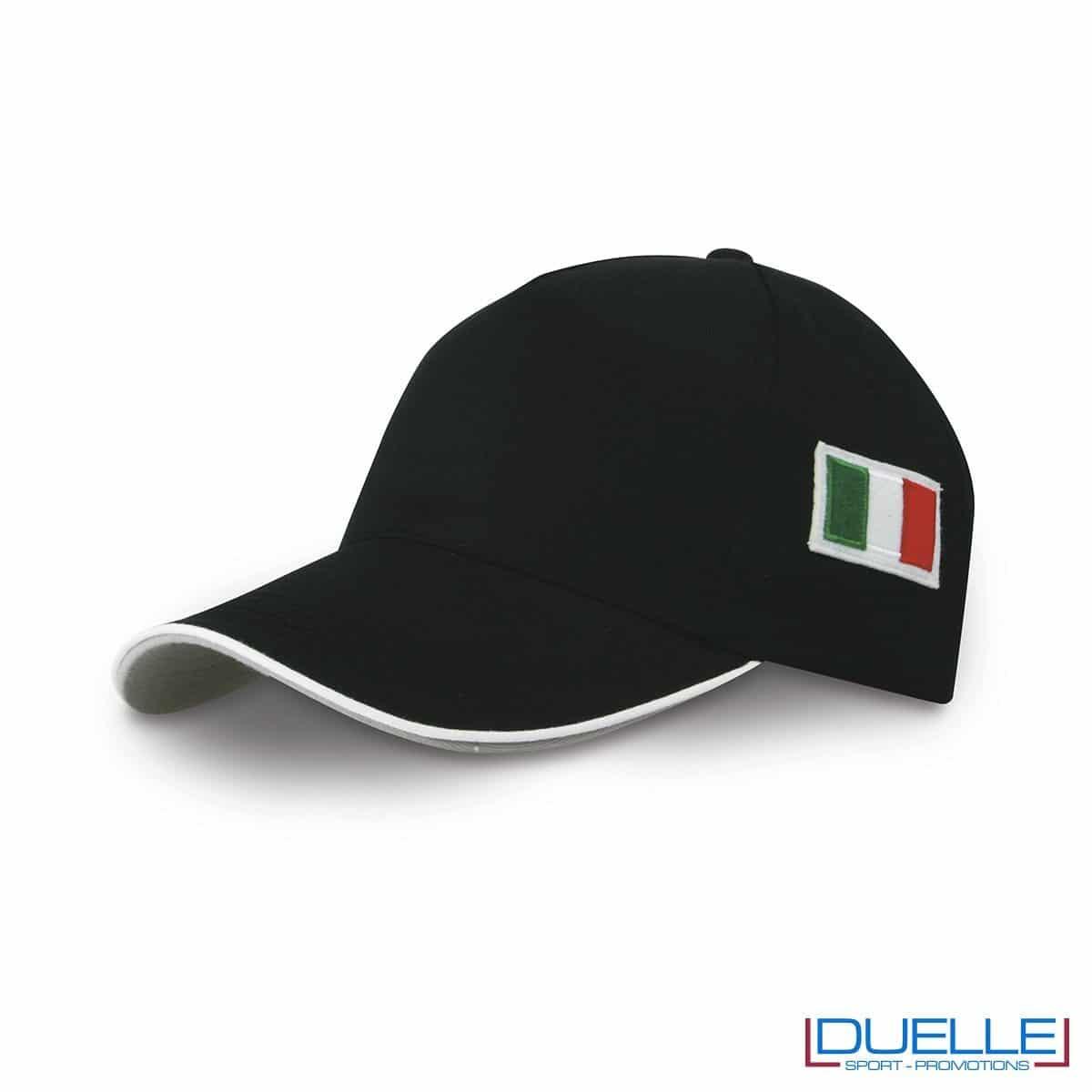 cappellino personalizzato 5 pannelli con bandiera tricolore colore nero