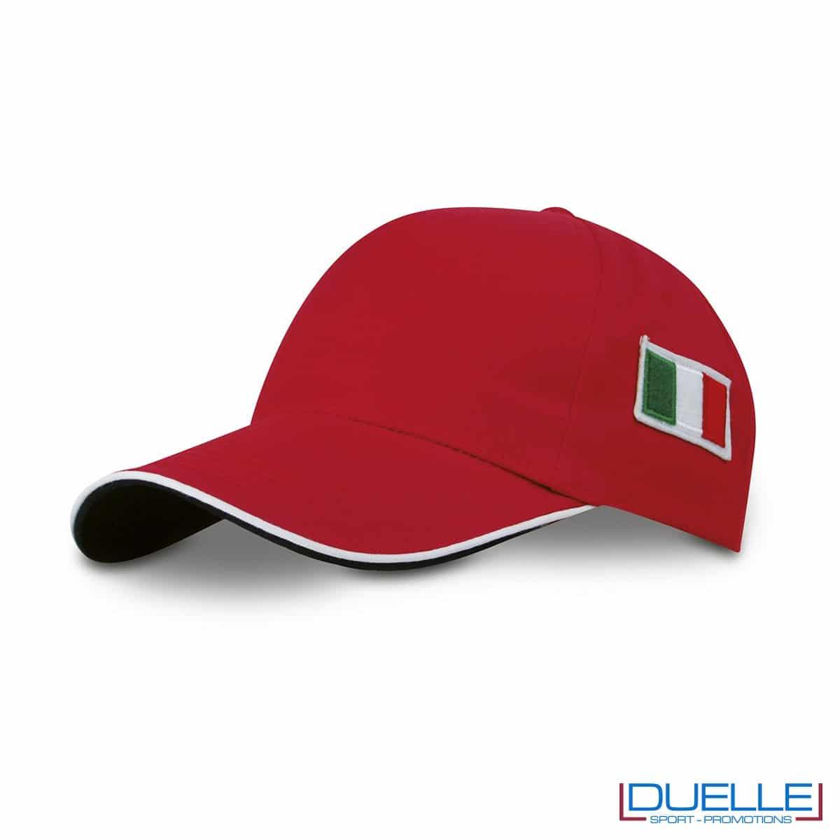 cappellino personalizzato 5 pannelli con bandiera tricolore colore rosso