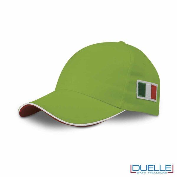 cappellino personalizzato 5 pannelli con bandiera tricolore colore verde