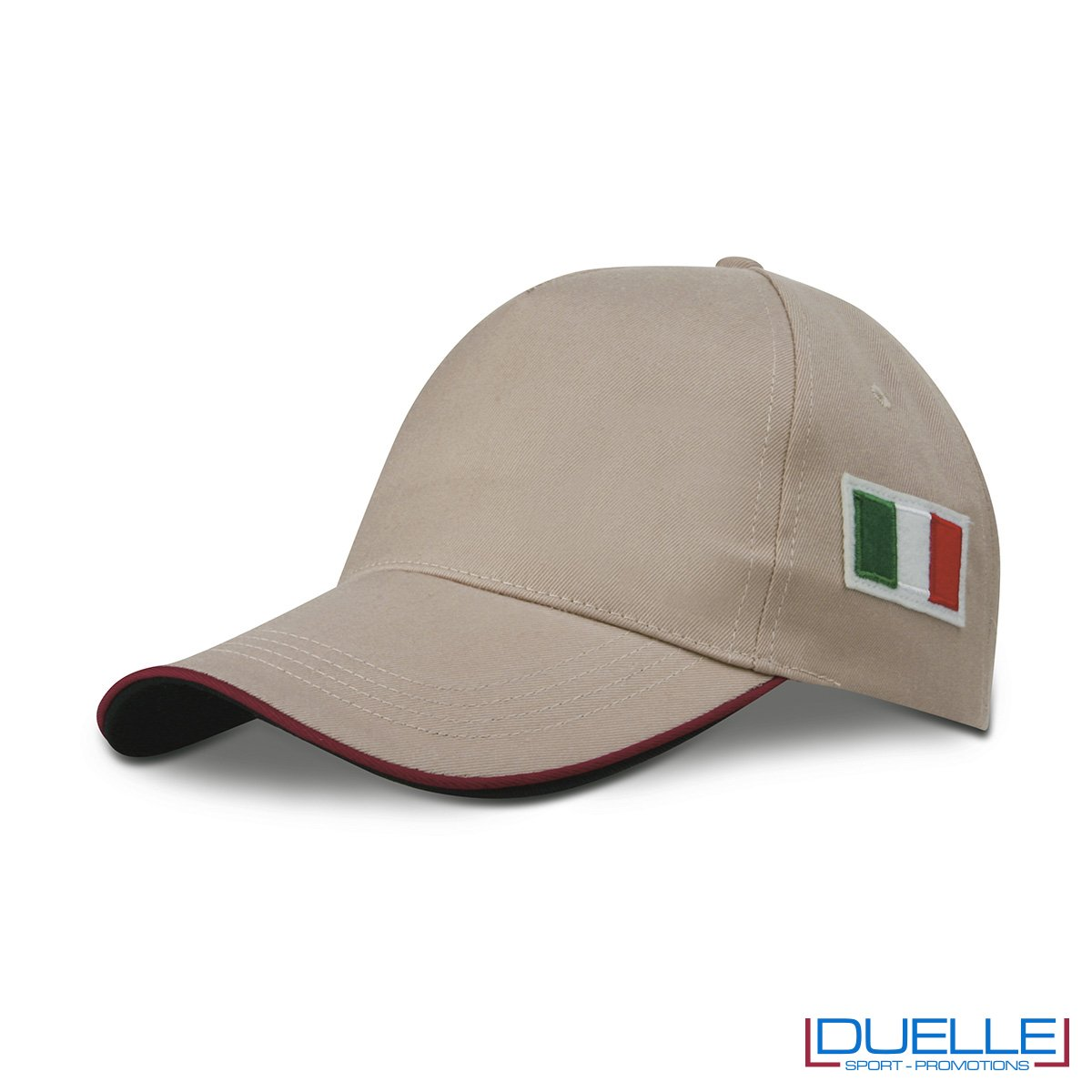 cappellino personalizzato 5 pannelli con bandiera tricolore colore kaki