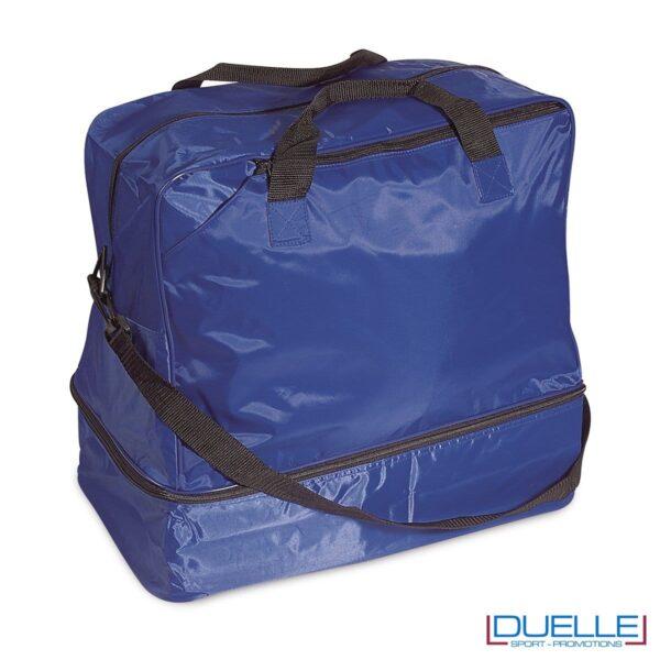 Borsa sportiva personalizzata colore BLU con porta scarpe, gadget sport personalizzati, gadget premiazione sportiva