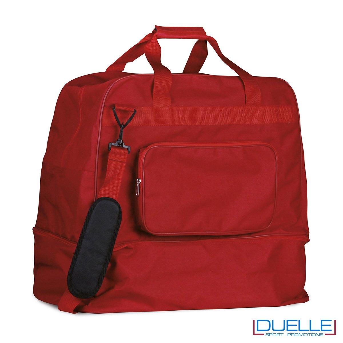 Borsone sportivo personalizzato colore ROSSO con porta scarpe, borse sportive personalizzate, gadget sportivi personalizzati