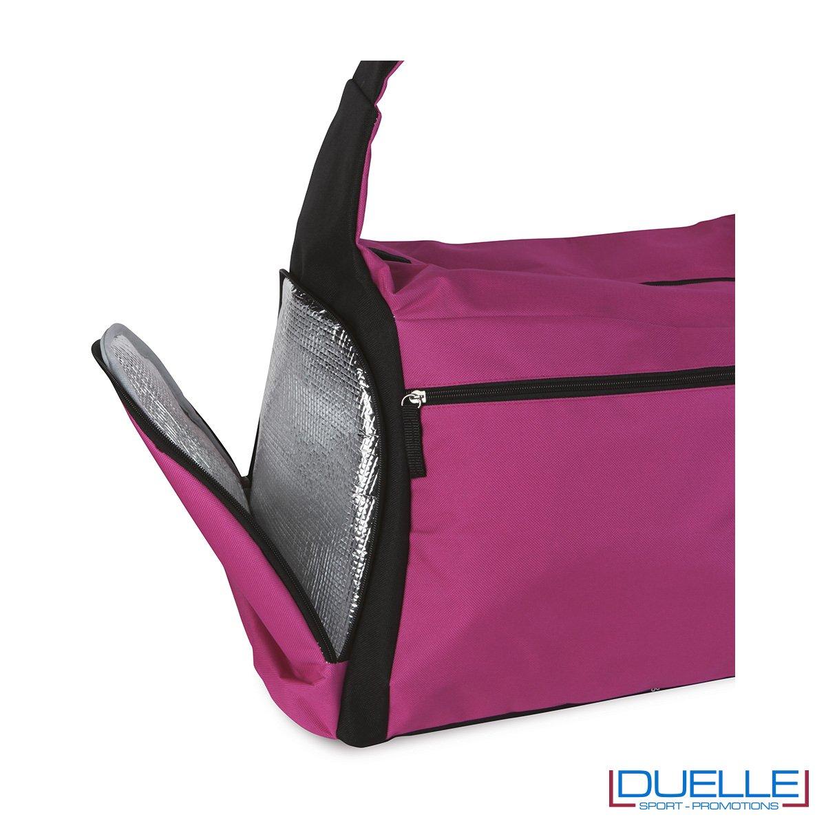 particolare chiusura termica della borsa sportiva colore FUXIA ideale per la palestra, borse sportive personalizzate, gadget sportivi personalizzati