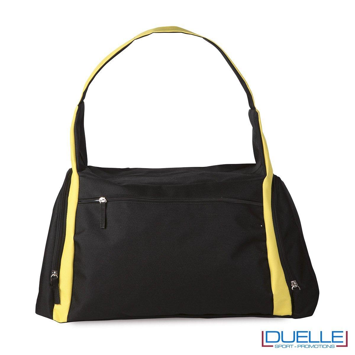 borsa sportiva colore NERA e GIALLA ideale per la palestra, borse sportive personalizzate, gadget sportivi personalizzati