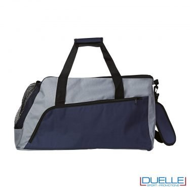 Borsone sportivo personalizzato colore GRIGIO e BLU, borse sport personalizzate, gadget sportivi personalizzati