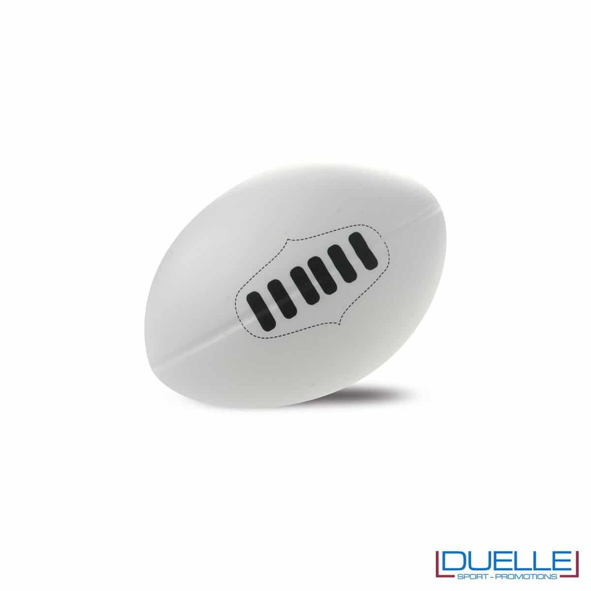 antistress personalizzato a forma di pallone da rugby bianco, gadget sportivi personalizzati