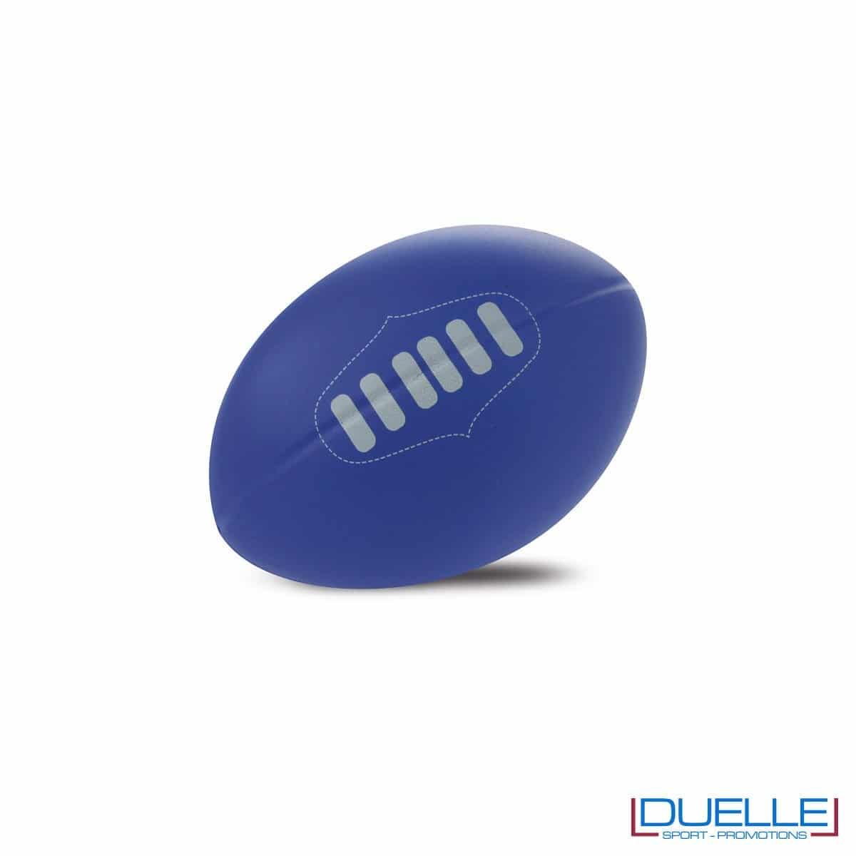 antistress personalizzato a forma di pallone da rugby blu, gadget sportivi personalizzati