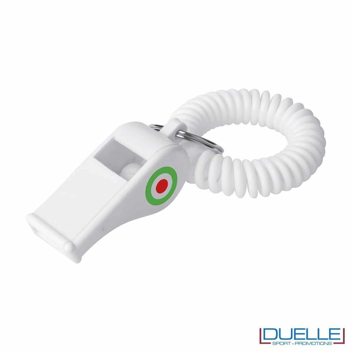 fischietto personalizzato di colore bianco con logo tricolore, gadget mondiali personalizzati