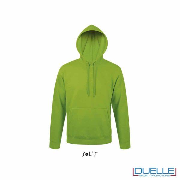 felpa personalizzata con cappuccio senza zip in colore verde acido