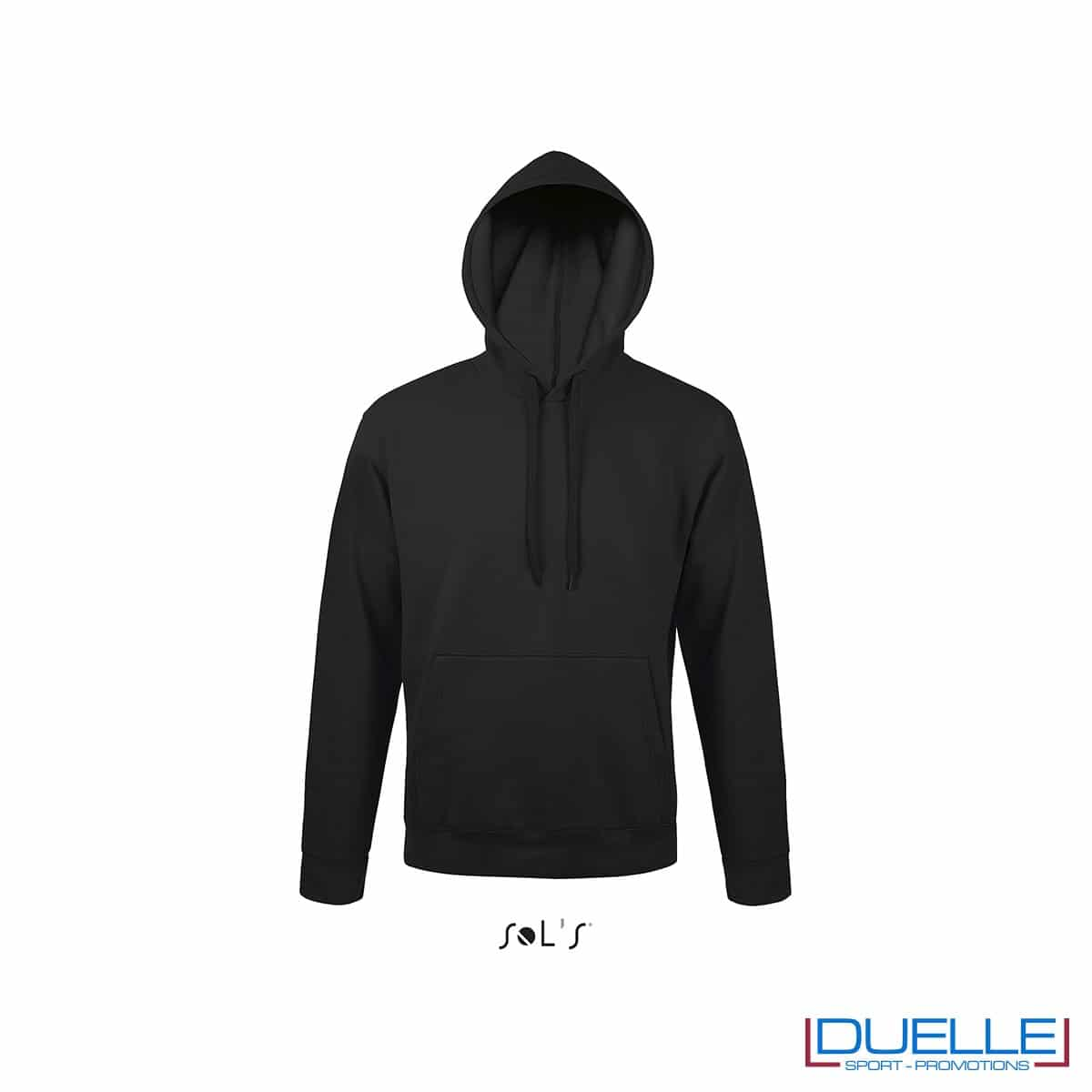 felpa personalizzata con cappuccio senza zip in colore nero
