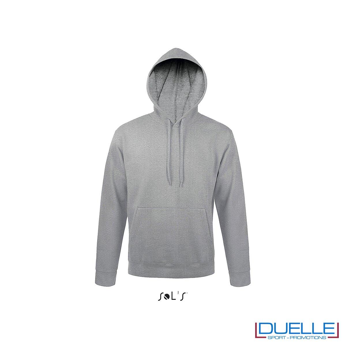 felpa personalizzata con cappuccio senza zip in colore grigio melange