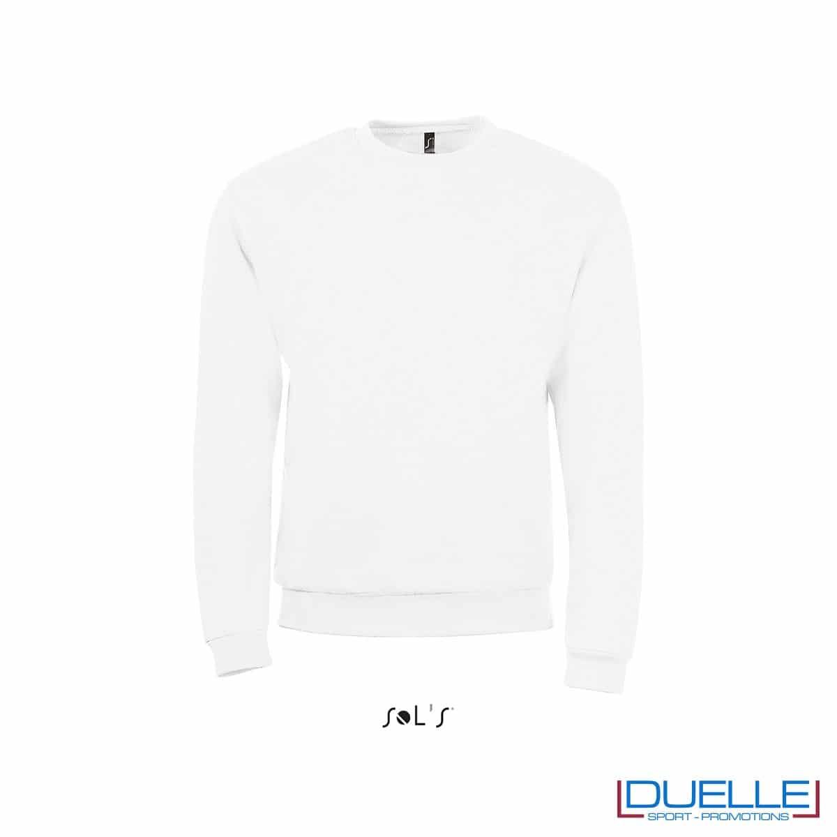 felpa personalizzata con girocollo in colore bianco, felpe personalizzate, abbigliamento promozionale personalizzato
