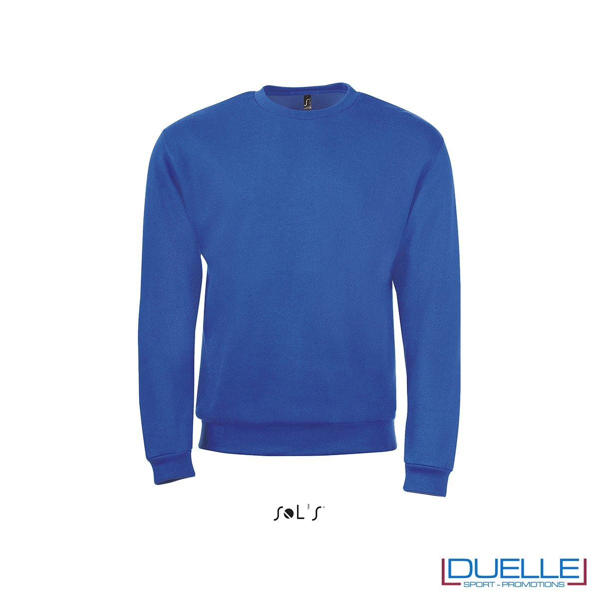 felpa personalizzata con girocollo in colore blu royal, felpe personalizzate, abbigliamento promozionale personalizzato