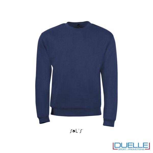 felpa personalizzata con girocollo in colore blu navy, felpe personalizzate, abbigliamento promozionale personalizzato