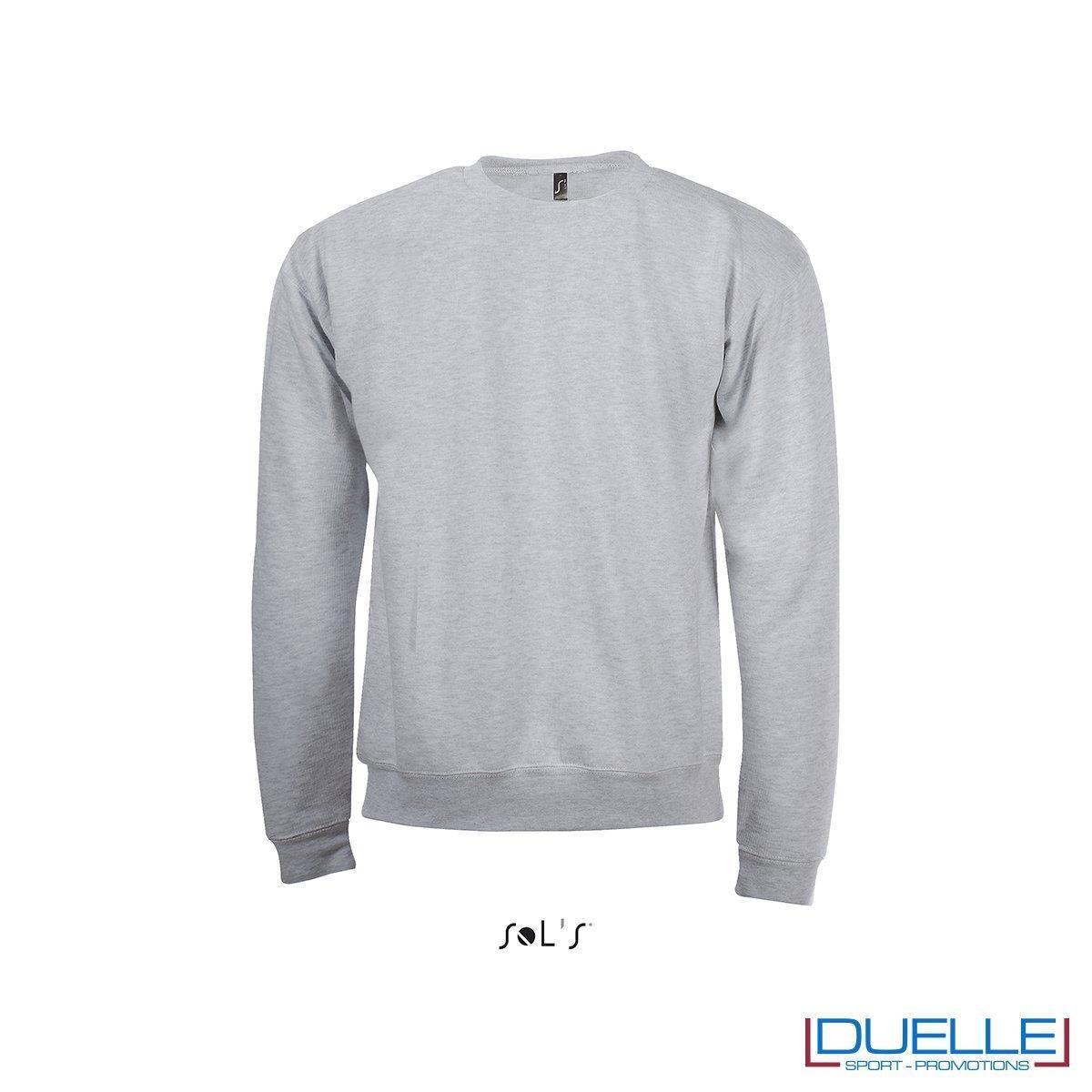 felpa personalizzata con girocollo in colore grigio melange, felpe personalizzate, abbigliamento promozionale personalizzato
