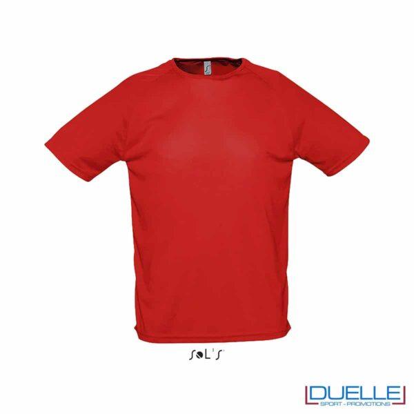 t-shirt sportiva colore rosso con effetto traspirante, abbigliamento sportivo personalizzato